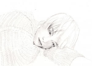 窪田正孝の鉛筆画似顔絵途中経過