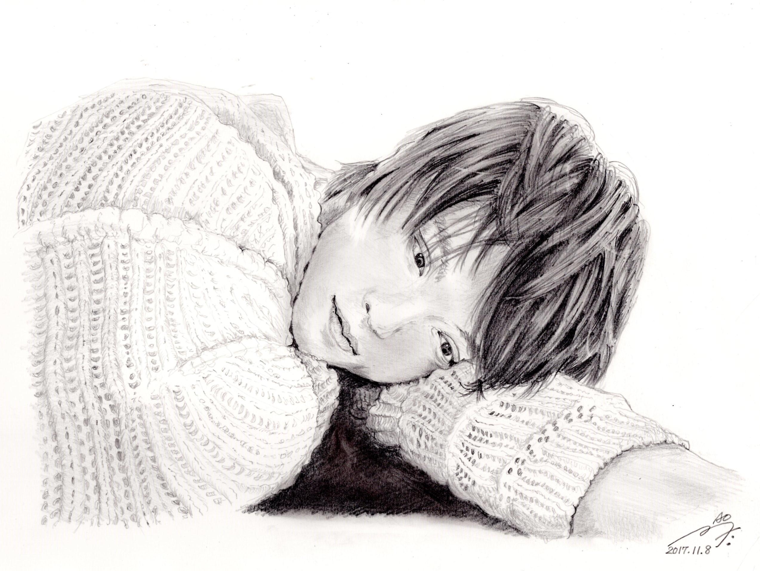 窪田正孝の鉛筆画似顔絵