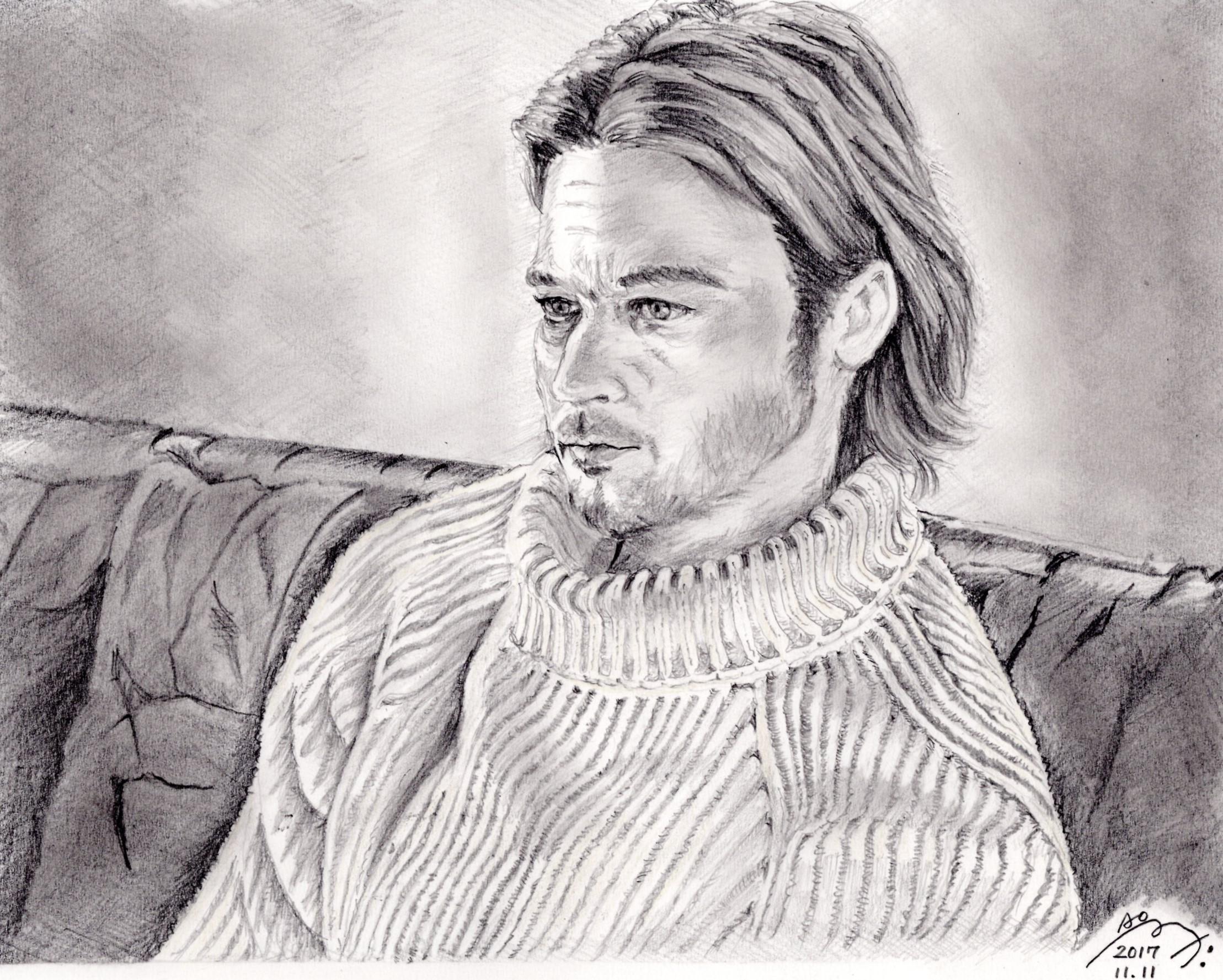 ブラッド・ピットの鉛筆画似顔絵