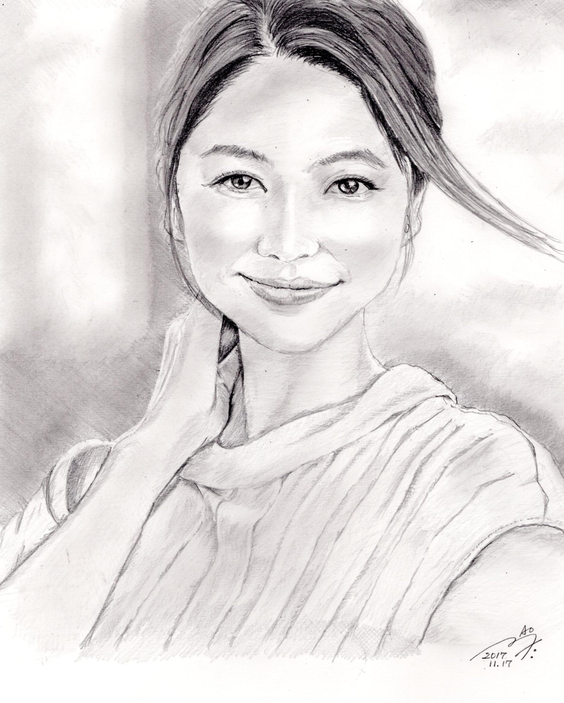 長澤まさみの鉛筆画似顔絵
