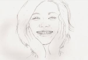 松下奈緒の鉛筆画似顔絵途中経過