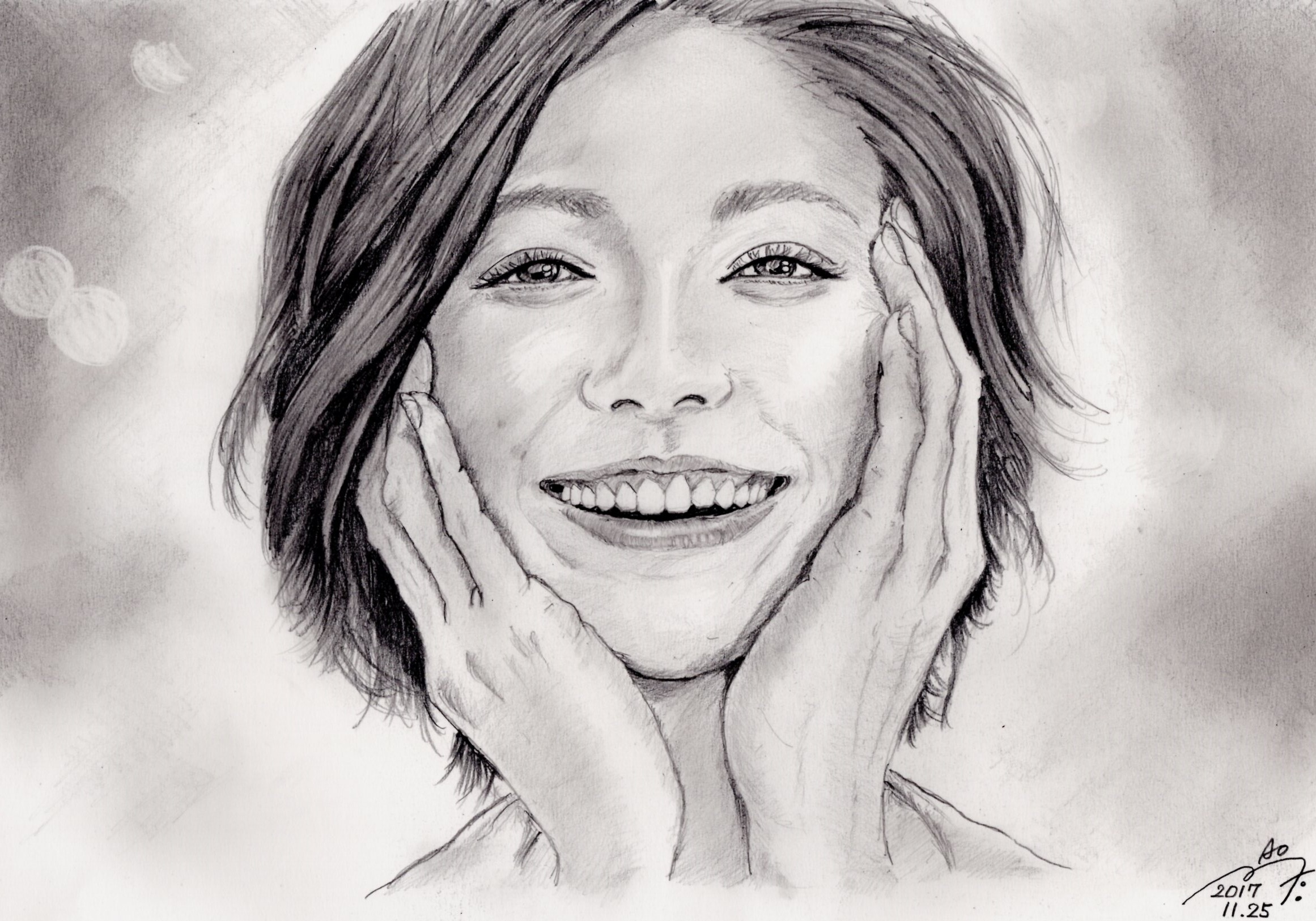 松下奈緒の鉛筆画似顔絵