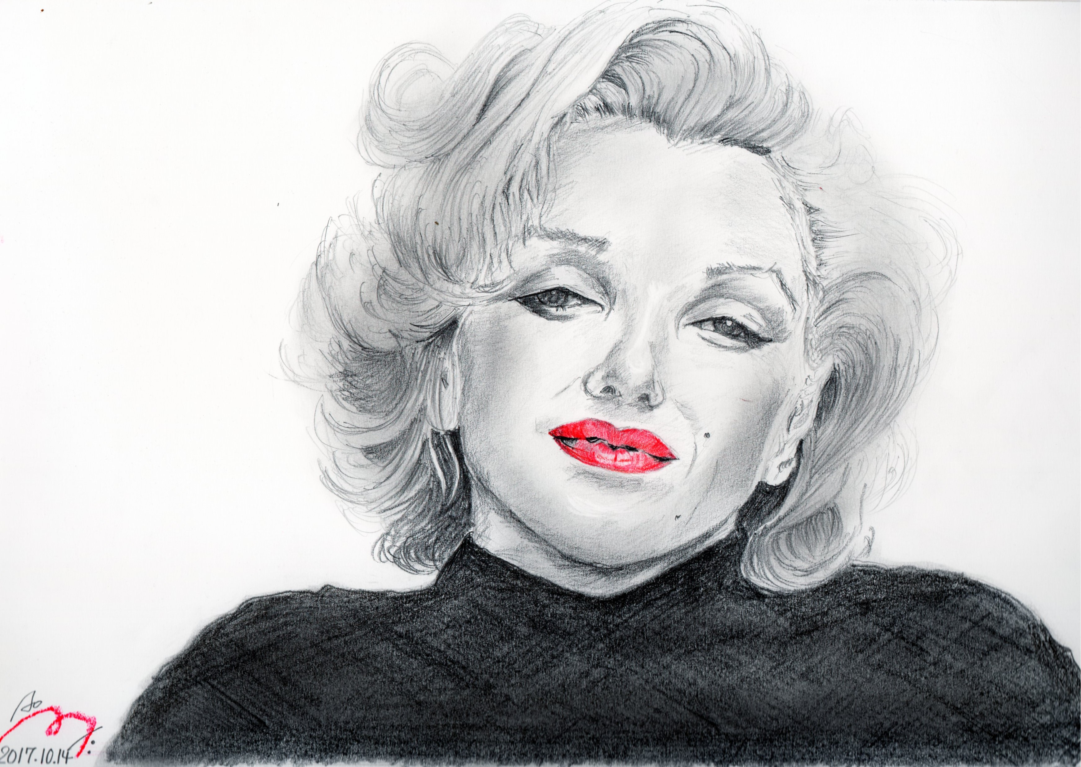 マリリンモンローの鉛筆画似顔絵