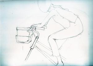 オードリーヘップバーン愛犬ヨーキーの鉛筆画似顔絵途中経過
