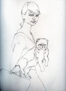 テイラースウィフトと愛猫の鉛筆画似顔絵途中経過