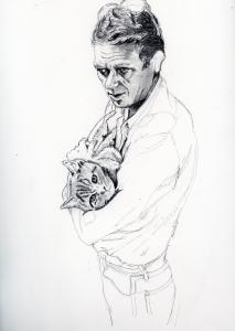 ステイーブマックイーンと愛猫の鉛筆画似顔絵途中経過
