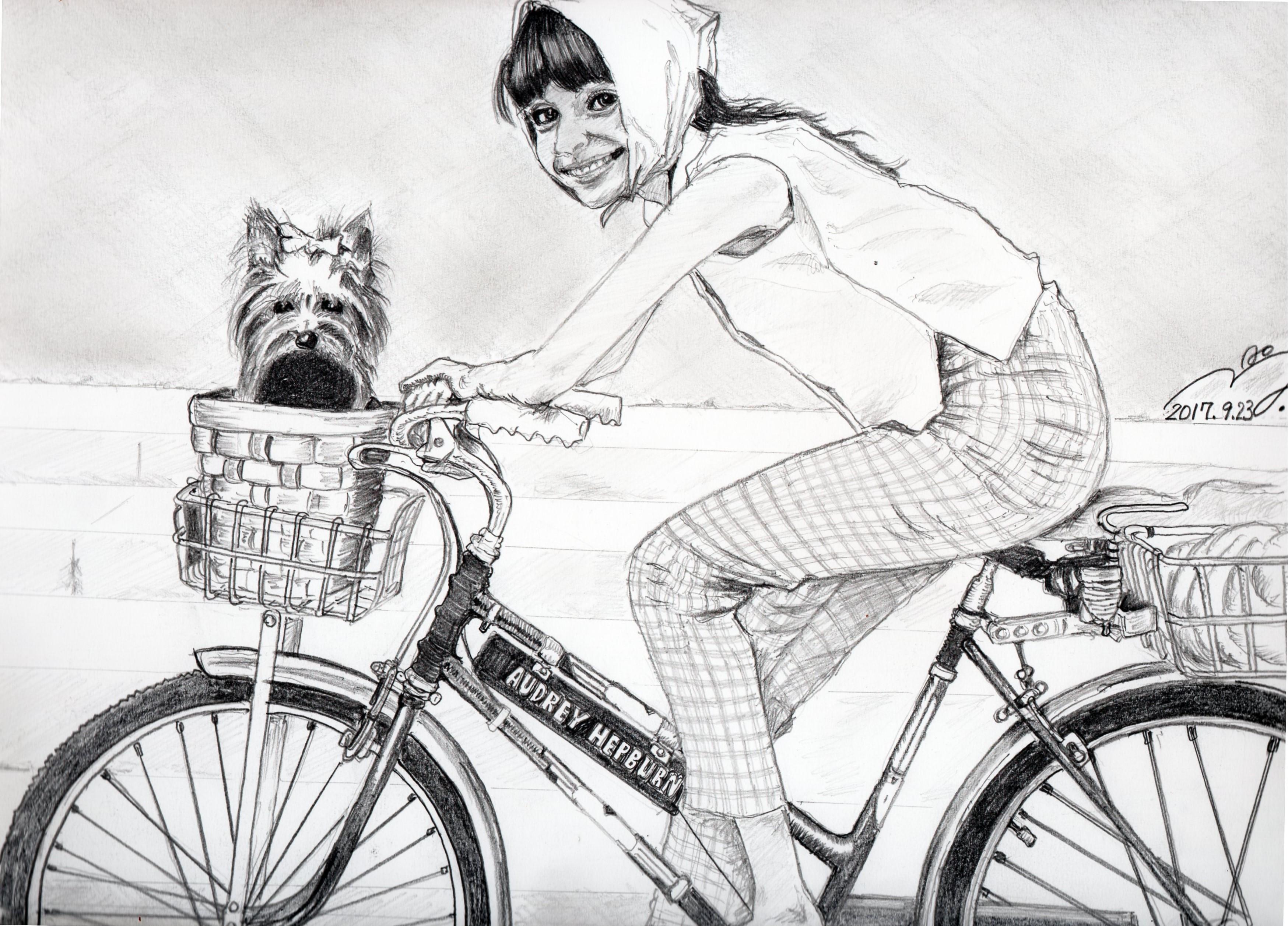 オードリーヘップバーン愛犬ヨーキーの鉛筆画似顔絵