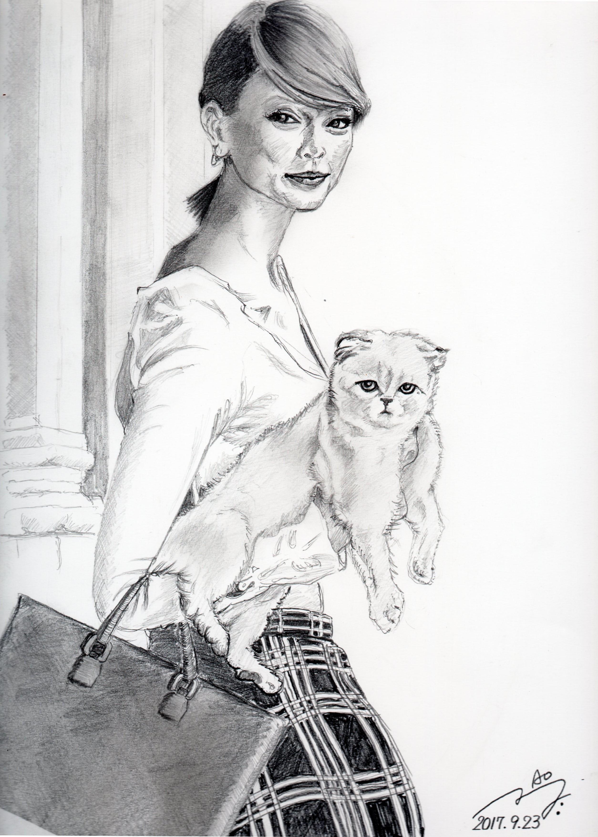テイラースウィフトと愛猫の鉛筆画似顔絵