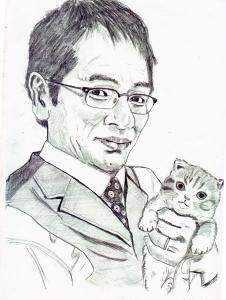 大杉漣と愛猫の鉛筆画似顔絵
