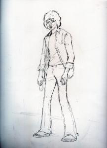 松田優作ジーパン刑事の鉛筆画似顔絵途中経過