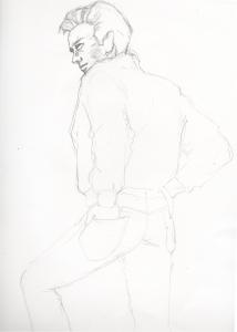 ジェームズ・ディーンの鉛筆画似顔絵途中経過