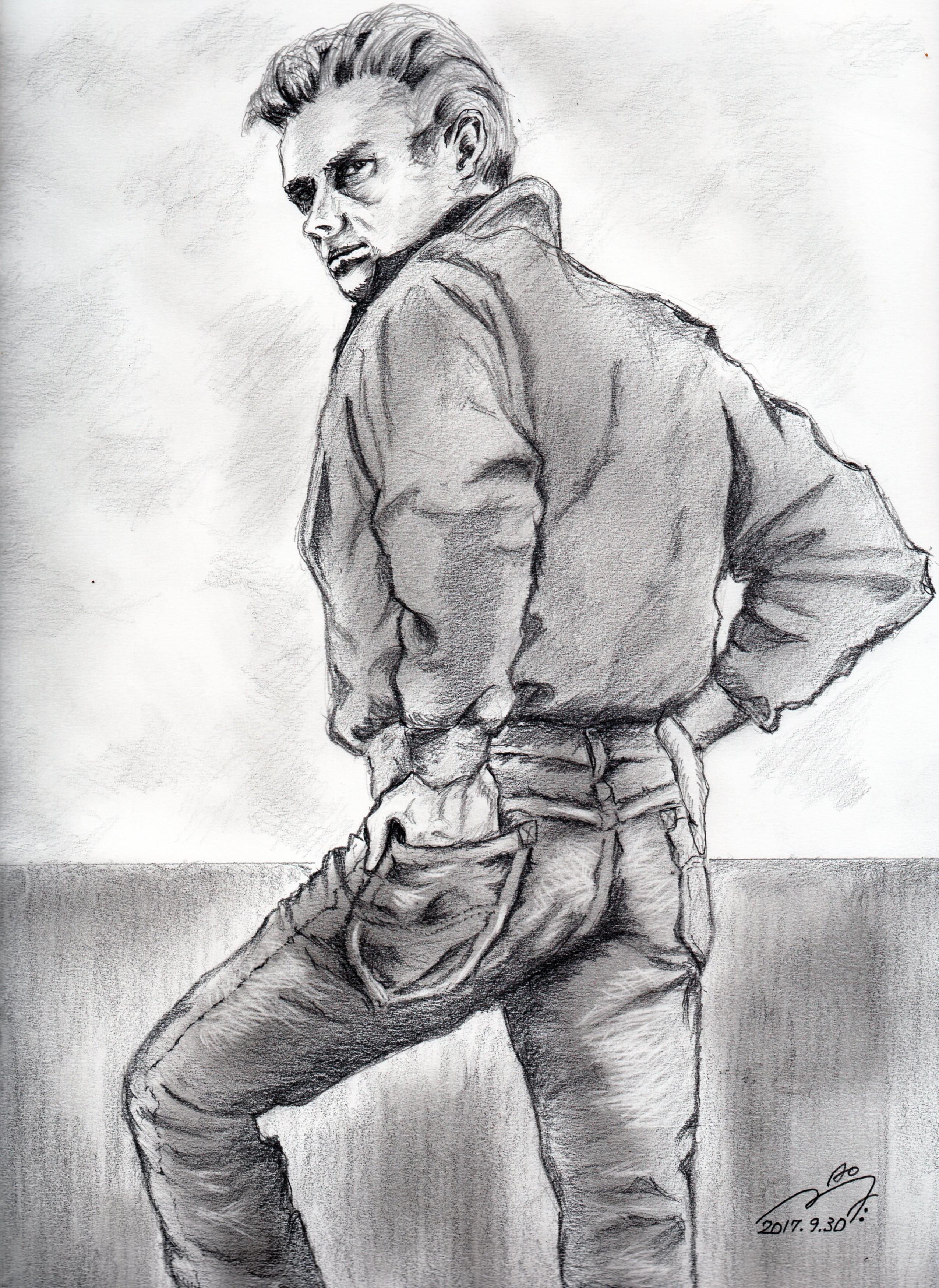 ジェームズ・ディーンの鉛筆画似顔絵