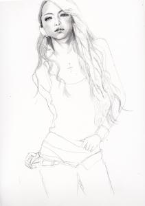 安室奈美恵の鉛筆画似顔絵途中経過