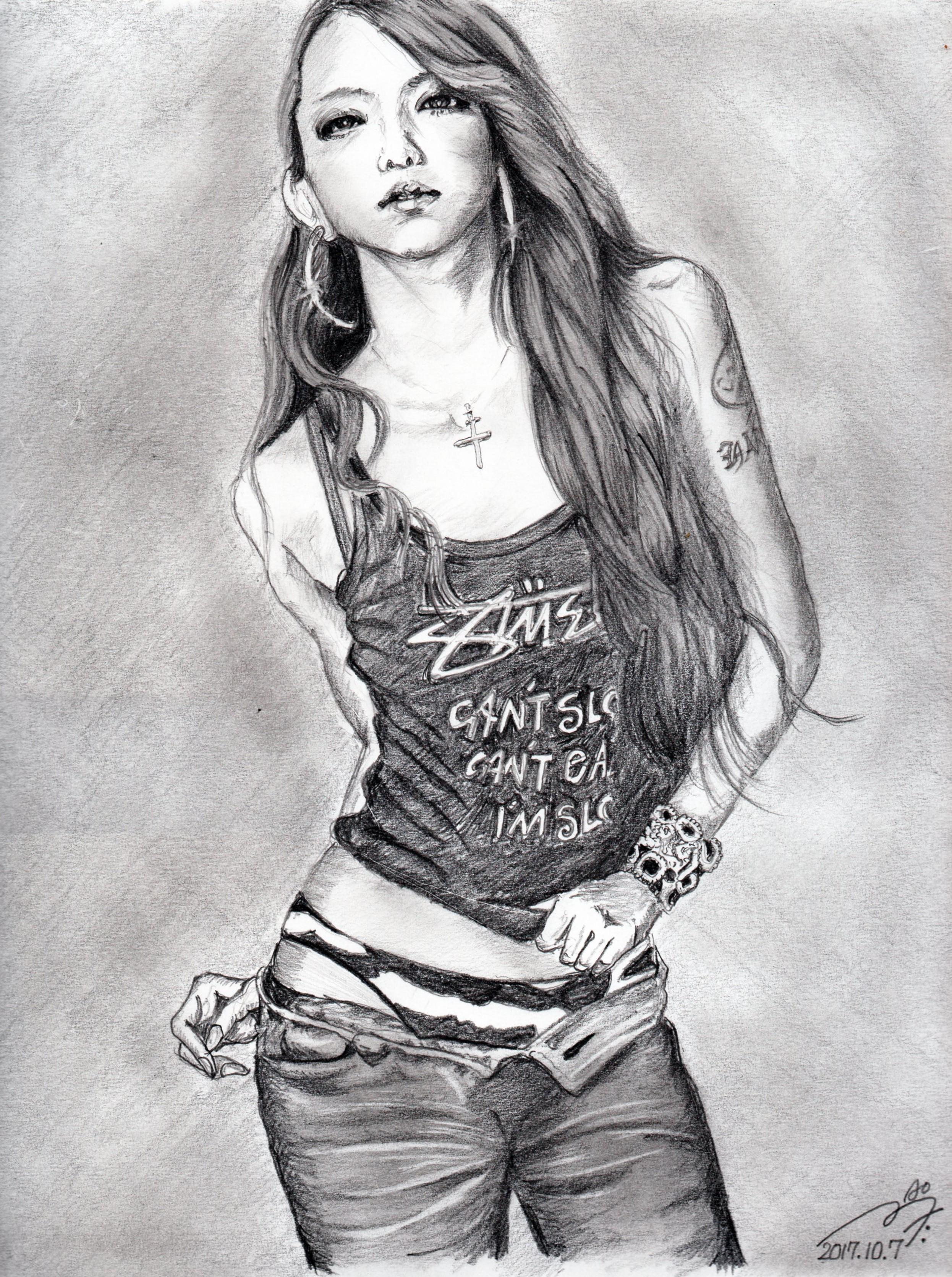 安室奈美恵の鉛筆画似顔絵