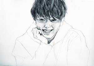 竹内涼真さんの鉛筆画似顔絵途中経過