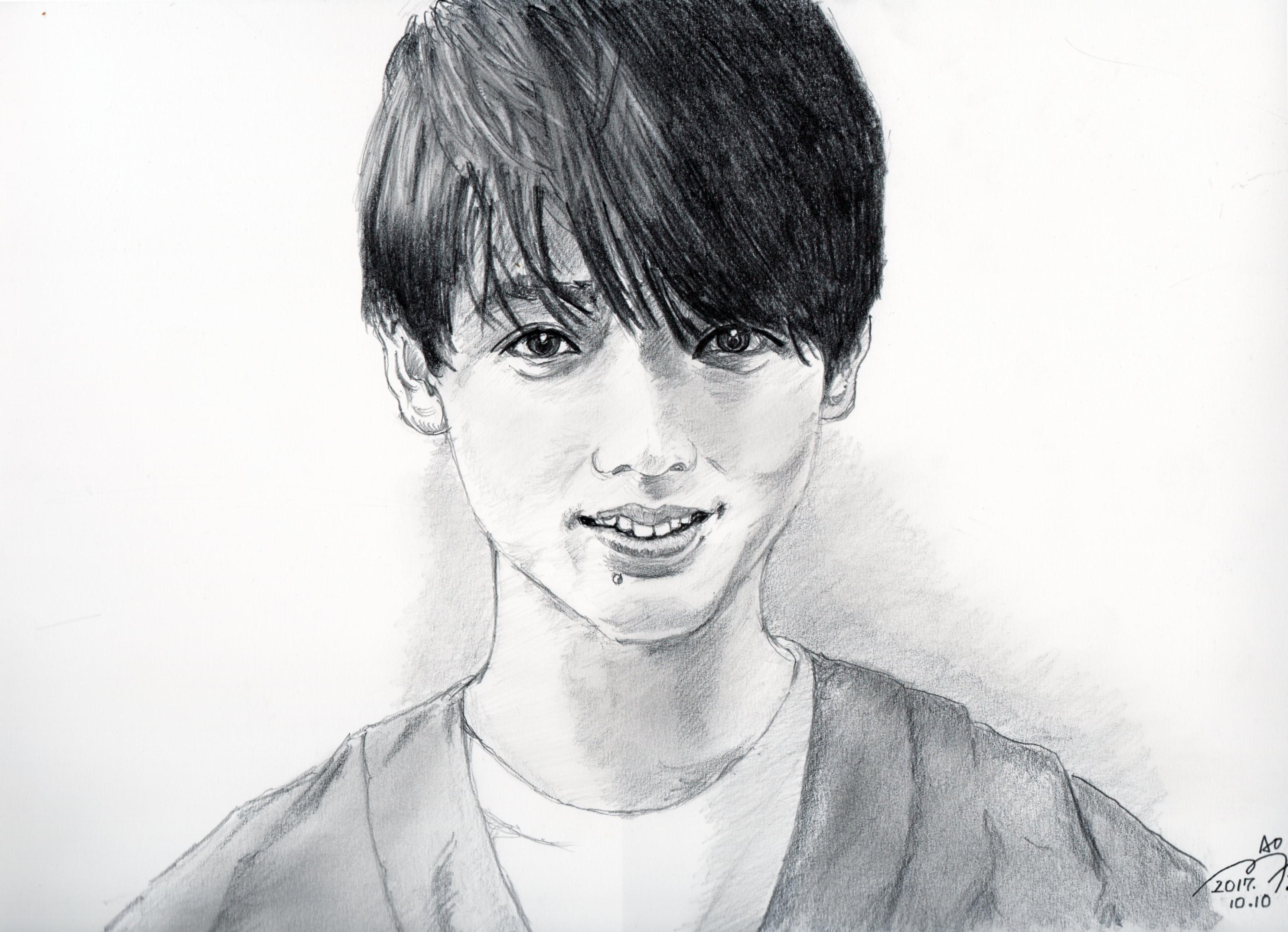 竹内涼真さんの鉛筆画似顔