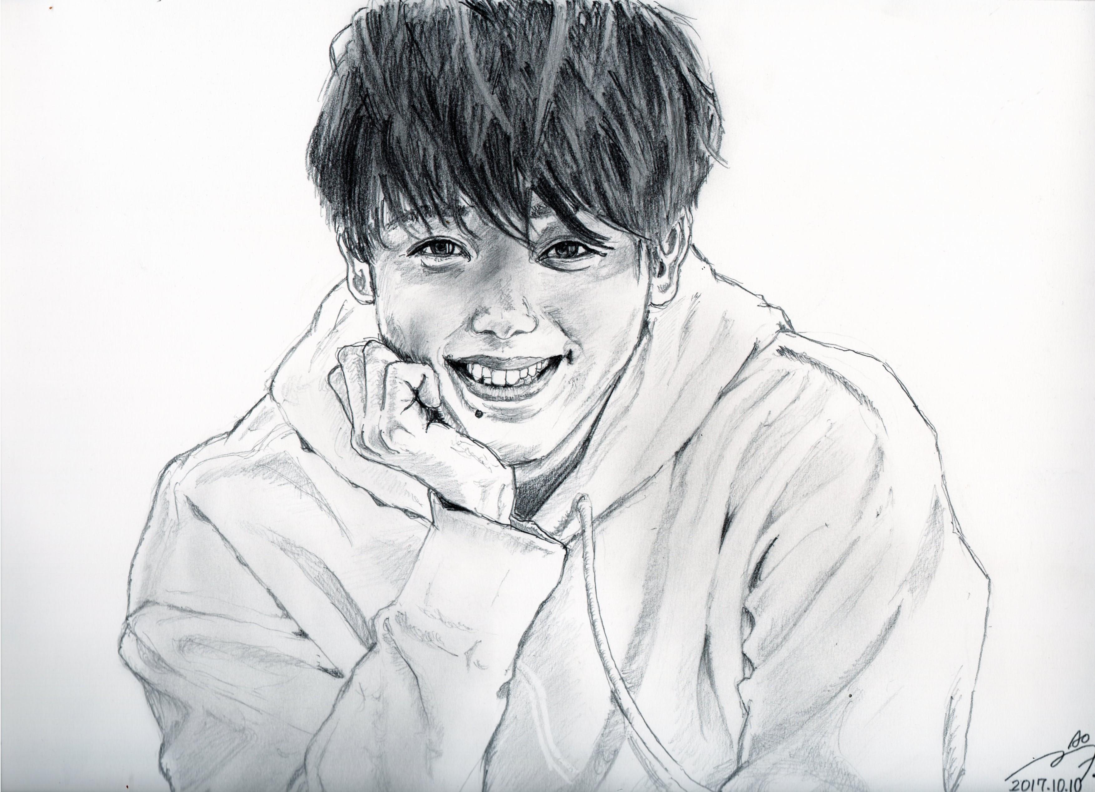 竹内涼真さんの鉛筆画似顔絵