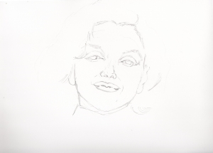 マリリンモンローの鉛筆画似顔絵途中経過