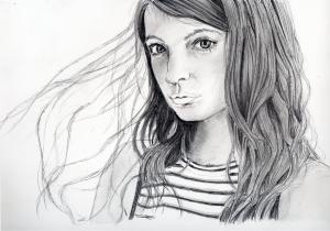 マギーの鉛筆画似顔絵途中経過