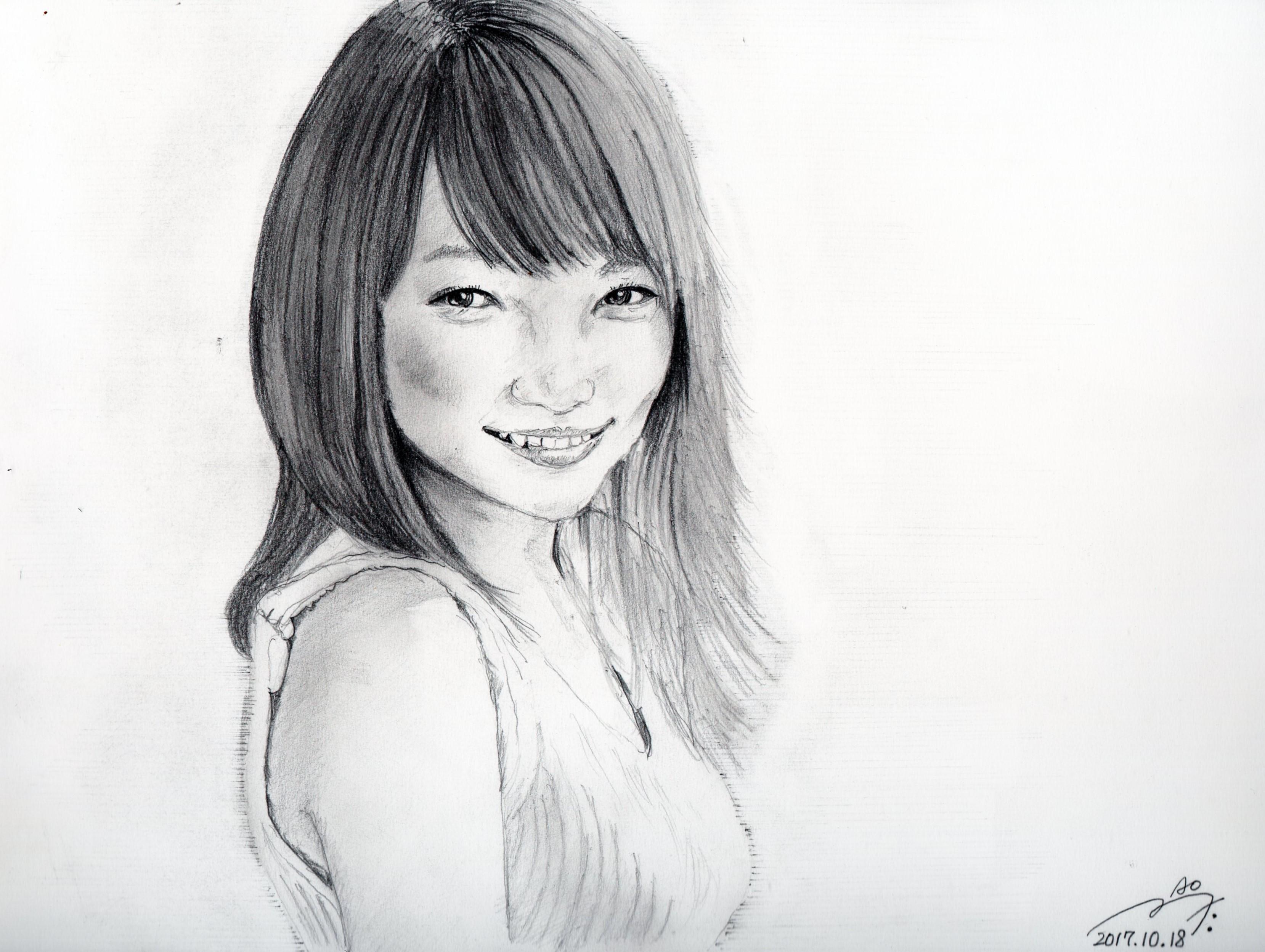 川栄李奈の鉛筆画似顔絵