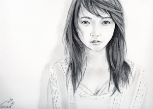 川栄李奈の鉛筆画似顔絵途中経過